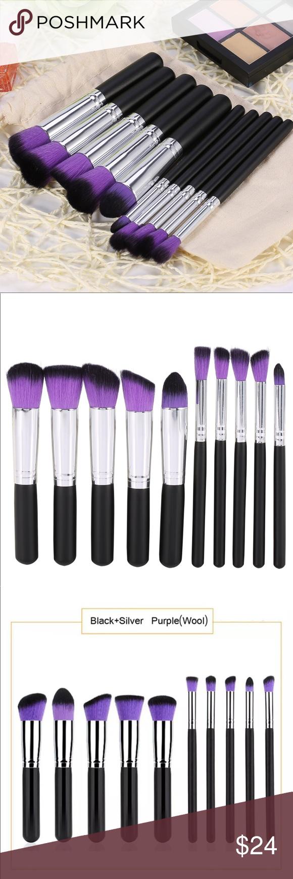 Black / Purple 10PC Kabuki Makeup Brush Set Boutique