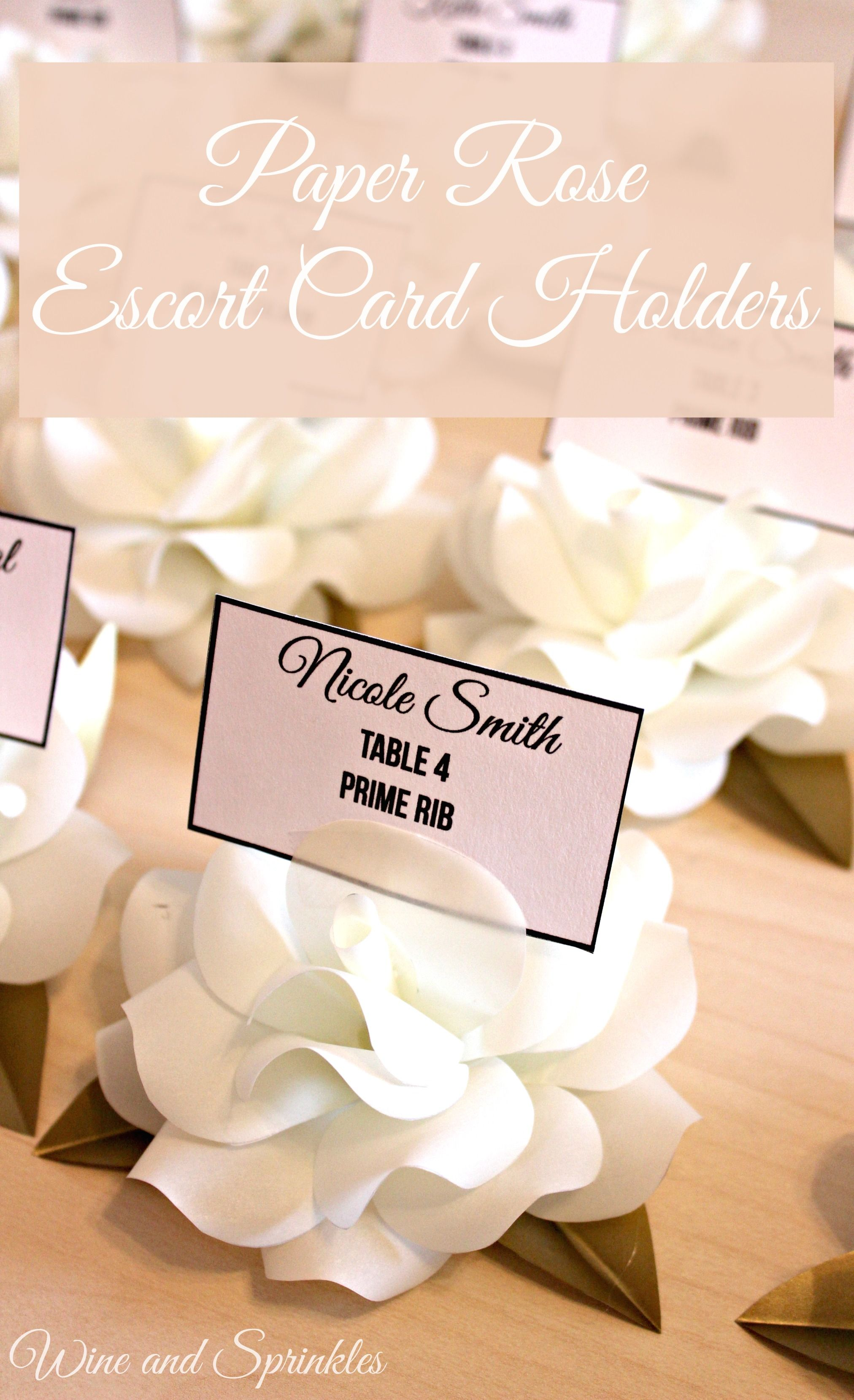 Vellum Paper Rose Escort Card Holders Place Card Floral