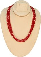 Amarsons Pearls Coral Mala Fabric Necklace