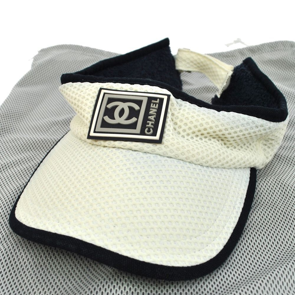 6c66056e636 Authentic CHANEL Sport Line Sun visor Hat Cap White Navy Nylon Vintage  M07327