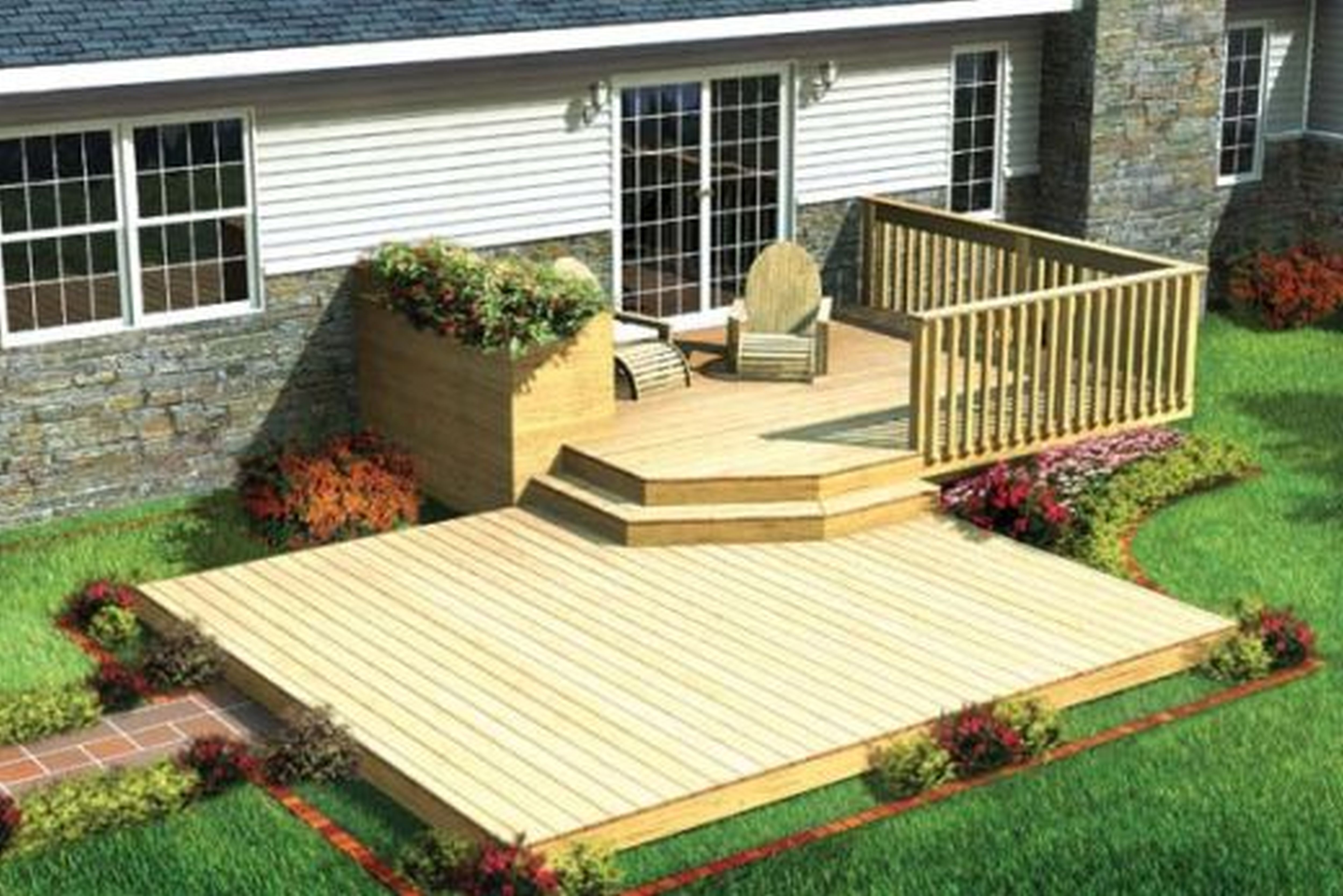 deck stunning ground level deck plans for