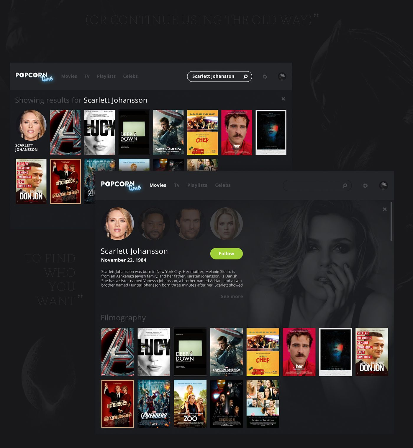 PopCorn Time Redesign on Behance Popcorn times, User