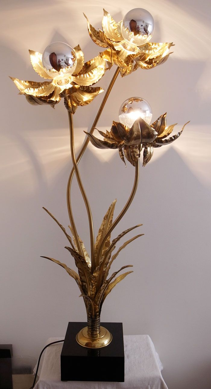 Lampe Fleurs Laiton 1970 Lampen