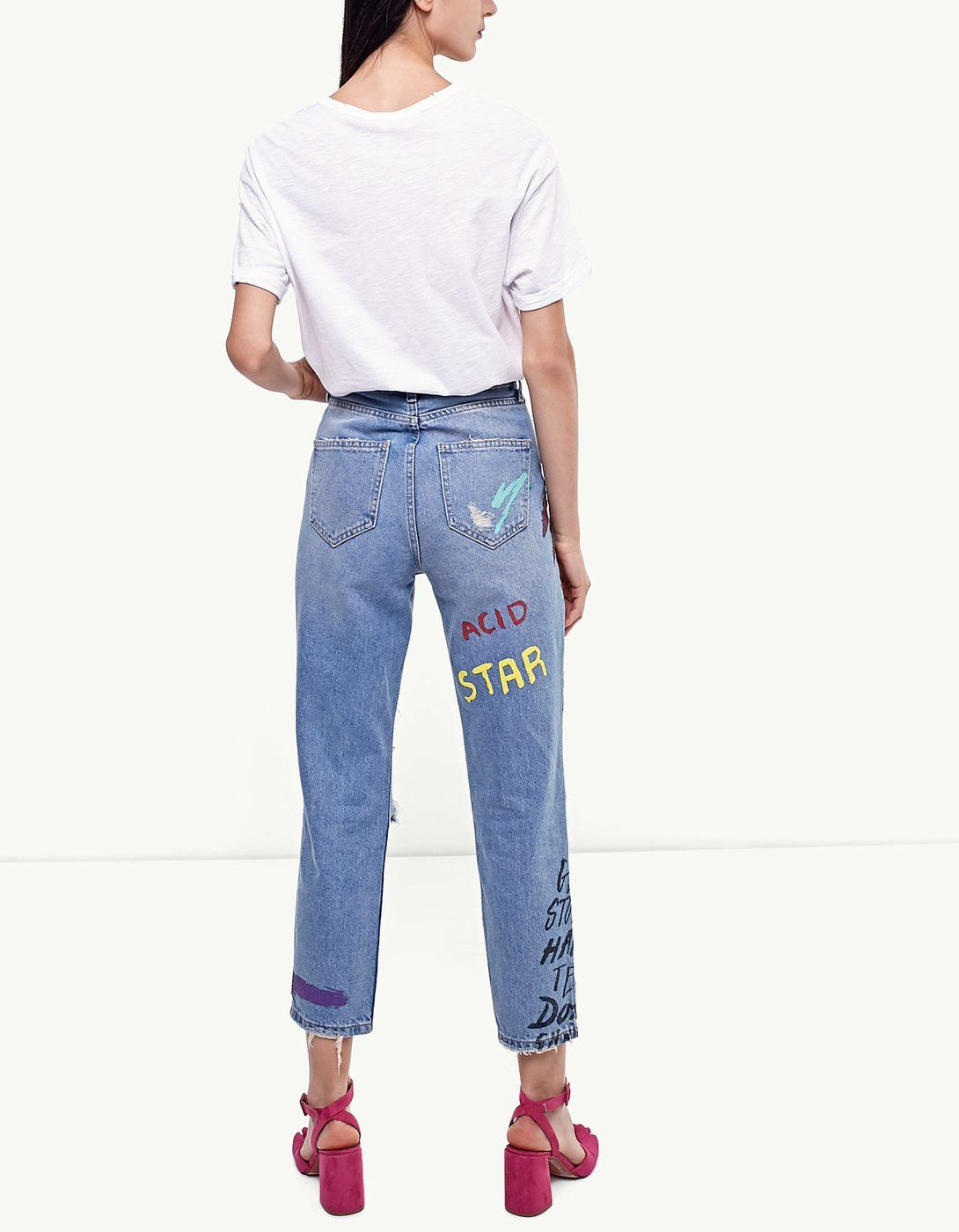 Jeans straight graffiti - Jeans  ae2256d956a