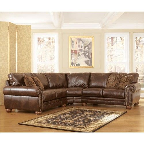 Signature Design by Ashley DuraBlend - Antique Sectional with Rolled Arms  and Wood Bun Feet -