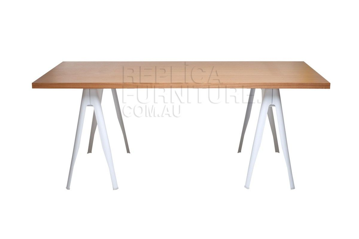 Nice Trestle Dining Table White    This Industrial Style Trestle Dining Table  Creates A Funky Look