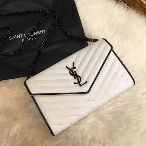 7a2ee3cc7b2 2017 Spring Saint Laurent Chain Wallet in Dove White and Black Grain de  Poudre Textured Matelasse