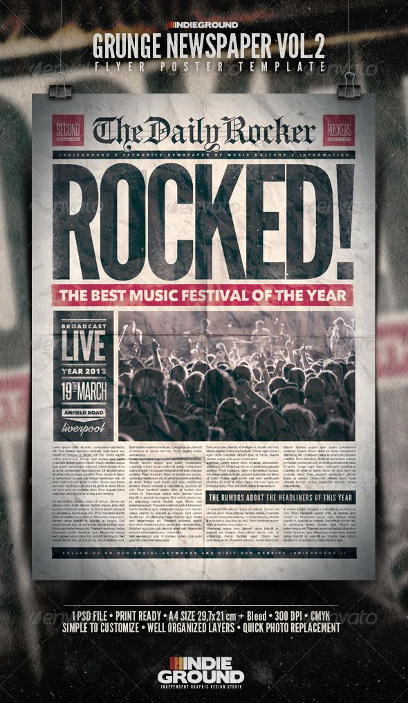 grunge newspaper flyer poster vol 2 graphicriver item for sale