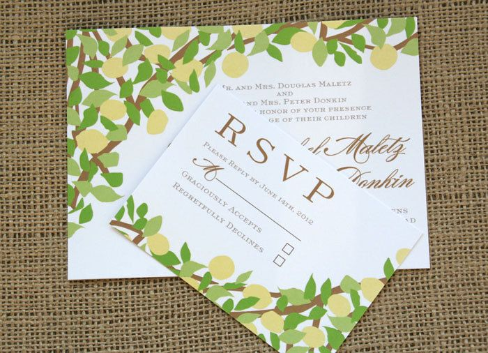 lemon tree yellow and green wedding invitation modern and vintage