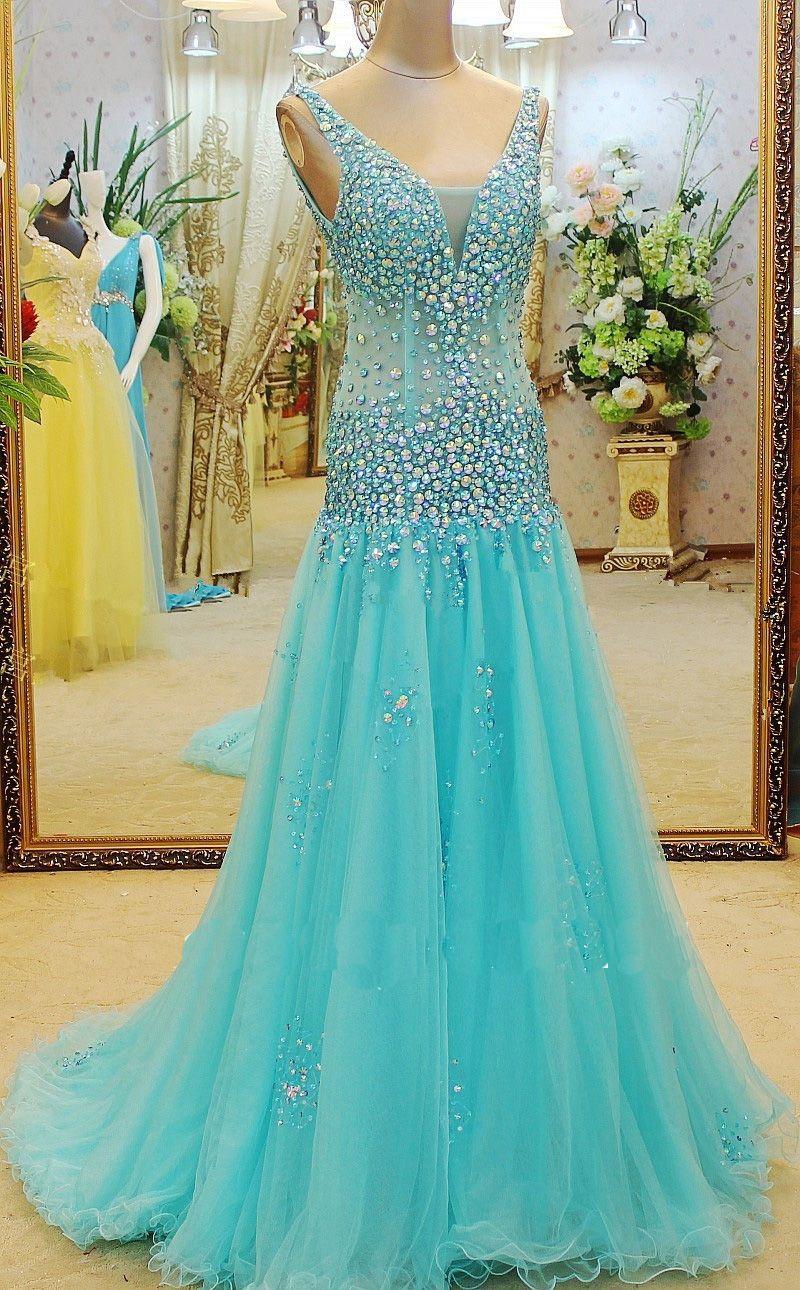 Wishesbridal Blue V Neck Court Train #Tulle A Line Bling #Prom ...
