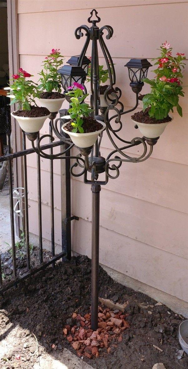 3-Stufig Blumenbank Nostalgie Blumentreppe Pflanzentreppe Eisen braun Antik-Stil