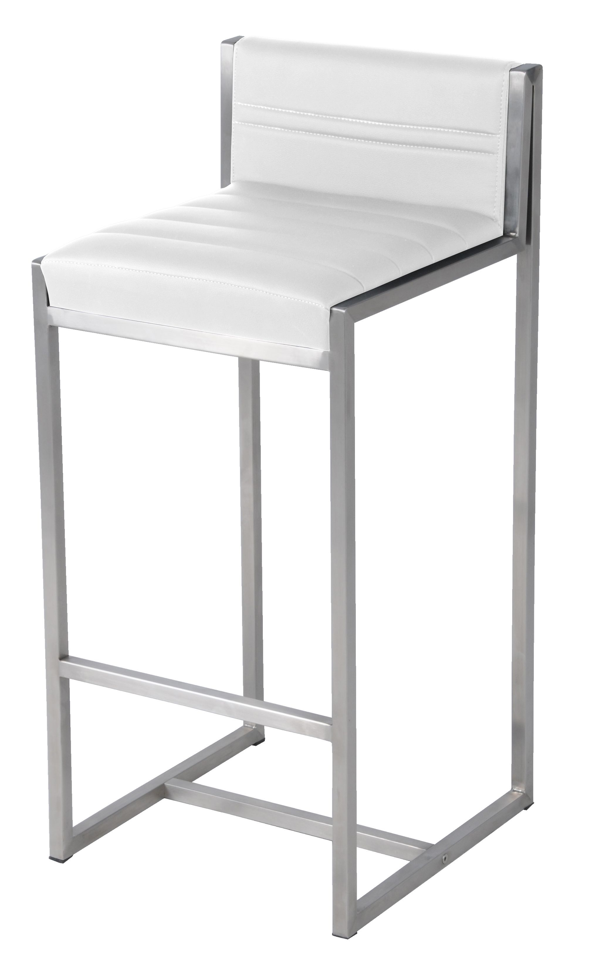 Evert Kd Bar Stool Stainless Steel Frame In White Npd