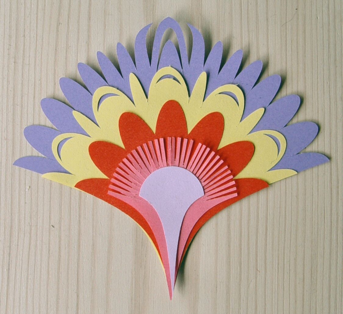 Polish paper cutting templates wycinanki 002 fan for Flower heads for crafts