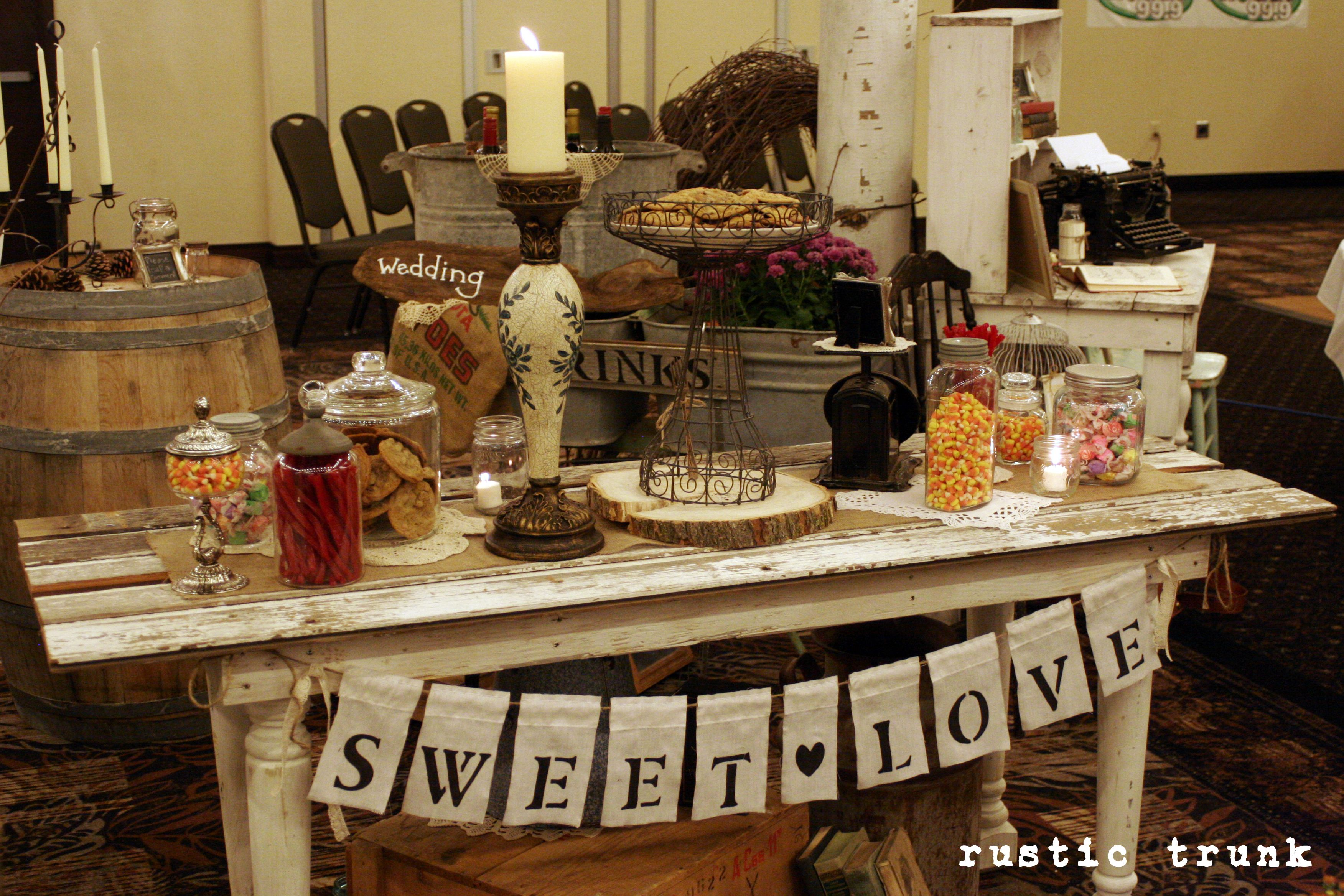 rustic display for rustic themed wedding