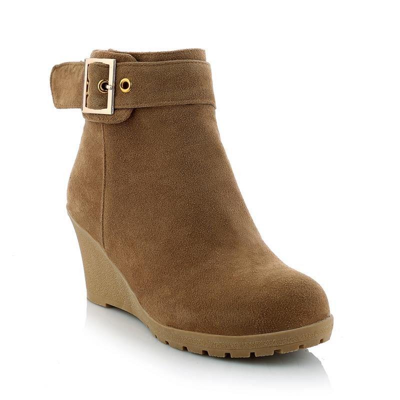 8b0474113869 High heels wedges winter fashion women skid resistance zip buckle platform  ankle boots
