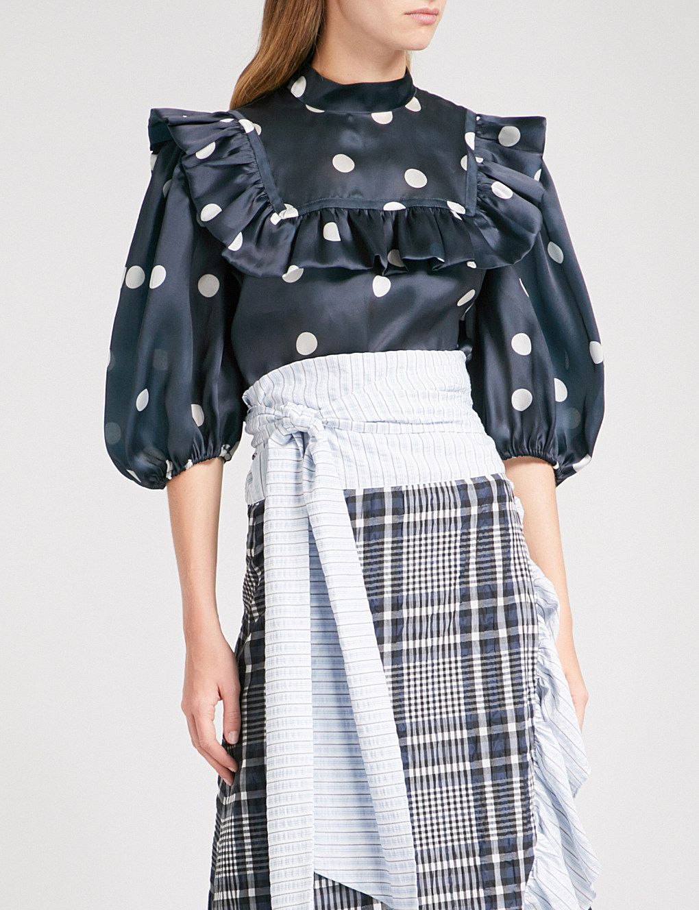 23a7d0ba GANNI Seneca silk blouse | AW18 in 2019 | Blouse, High waisted skirt ...