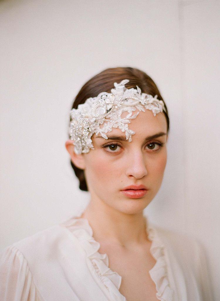 Embellished lace and rhinestone headpiece style 252