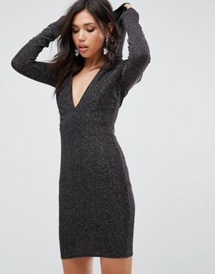 Club L Glitter Plunge Front Bodycon Dress With Hood
