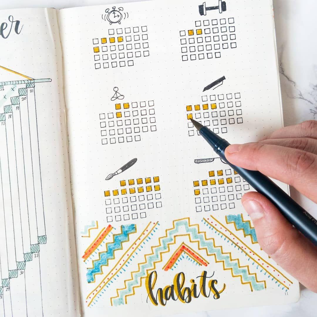 """Photo of Sam's Scribbles & Plans auf Instagram: """"Ich muss härter an meinen Gewohnheiten arbeiten, die keine Kunst beinhalten. Übung 😂 Ich habe nämlich einen monatlichen Gewohnheits-Tracker in einem anderen Stil zusammengestellt… """""""