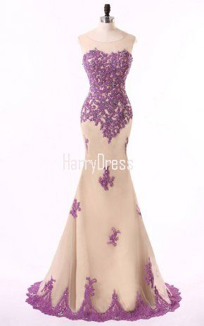 Purple Trumpet Mermaid Tulle Sweep Train Appliques Lace Long Prom Dress