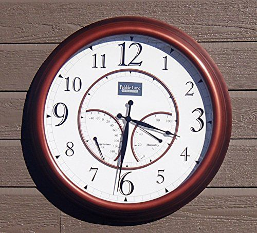 Outdoor Clocks 24 Large Outdoor Wall Clock Waterproof With Temperature And Humidity Copper Outdoor Wall Clocks Large Outdoor Wall Clock Large Outdoor Clock