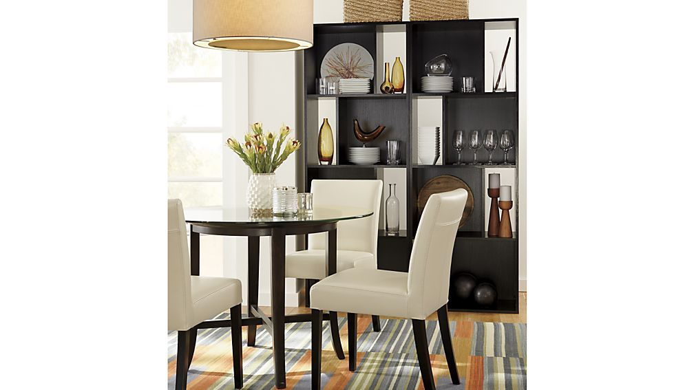 Halo Ebony Round Dining Tables With Glass Top Leather Side Chair