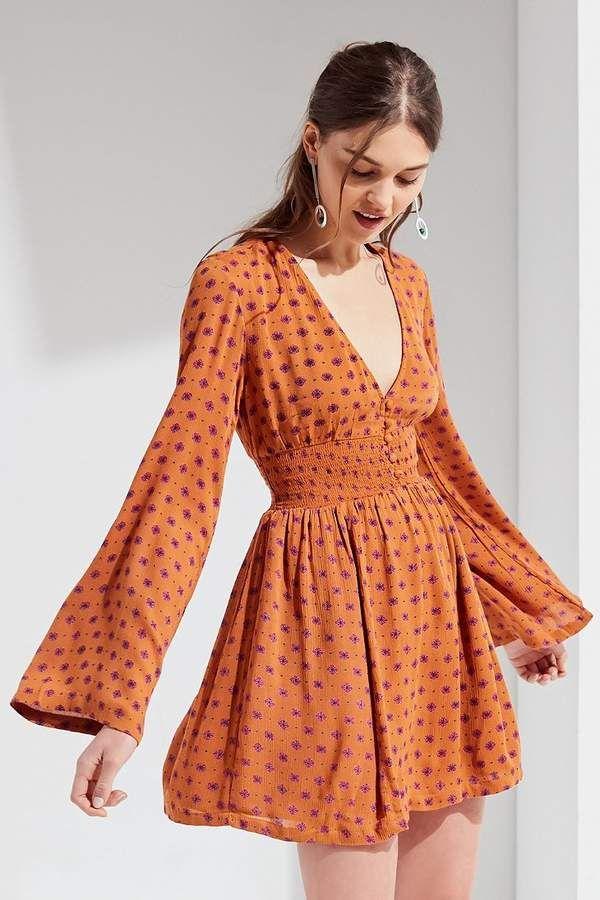 e979084a3a54 Urban Outfitters UO Elise Smocked-Waist Mini Dress | ☀☮ Boho Home ...
