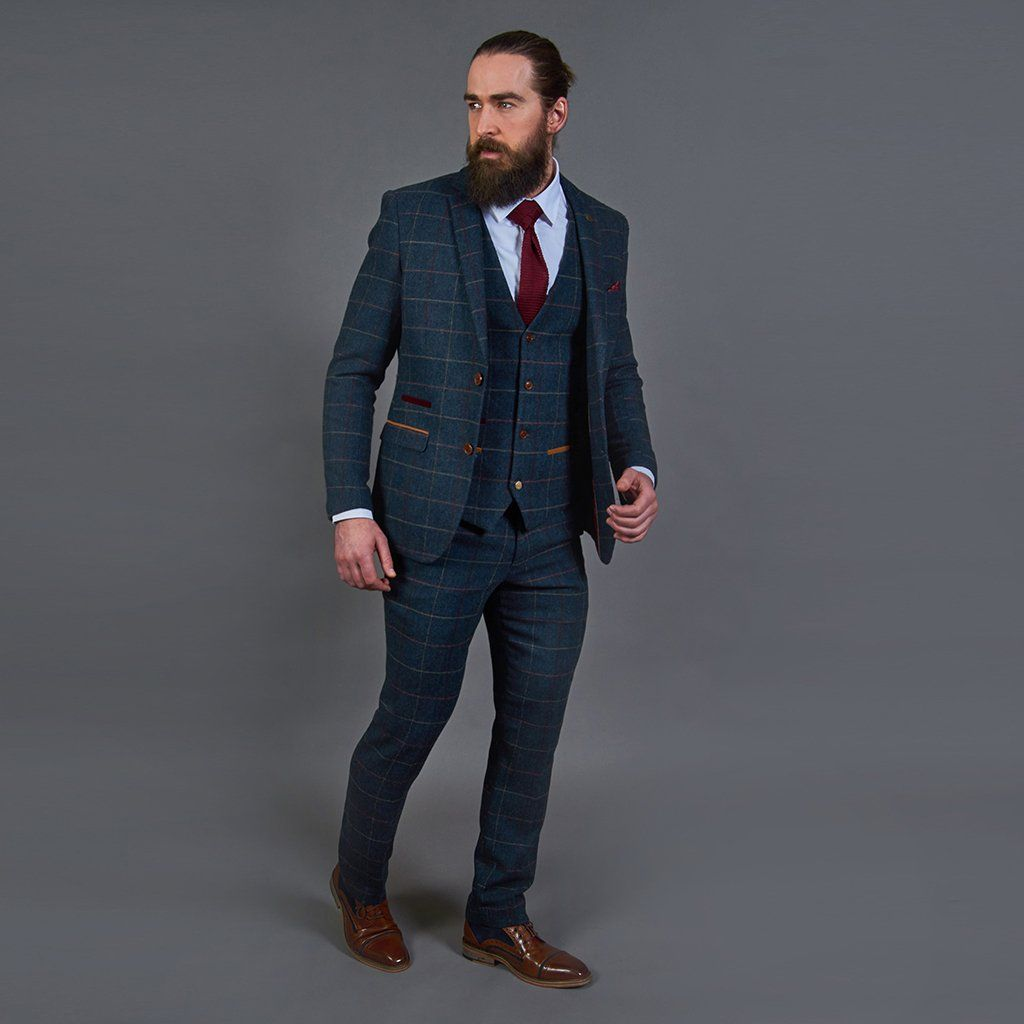 fd5f3c457417 Marc Darcy Eton Navy Check Tweed Style 3 Piece Suit #MarcDarcy  #MasterDebonair #winterwedding #mensfashion #wintersuit