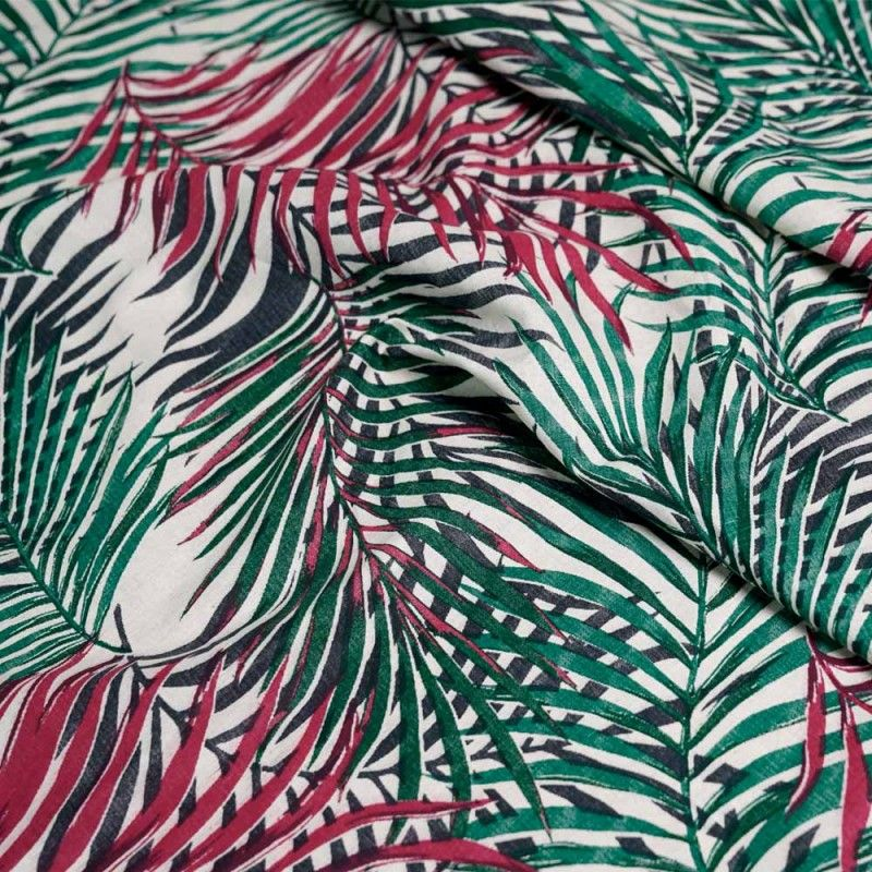 achat Tissu lin imprimé feuilles de palmes - pretty mercerie ...