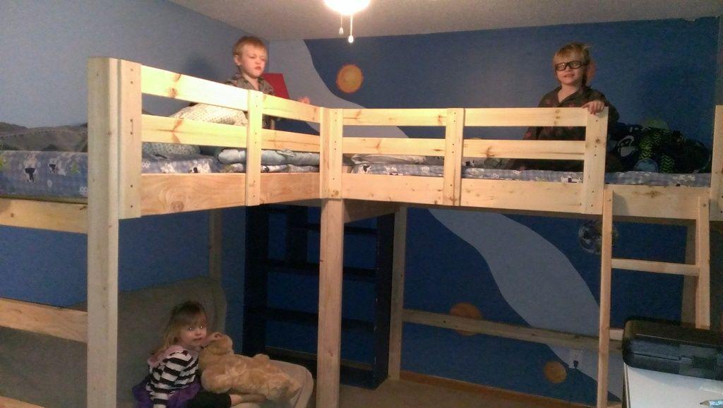 Diy L Shaped Bunk Beds Part Ii L Shaped Bunk Beds Diy Bunk Bed