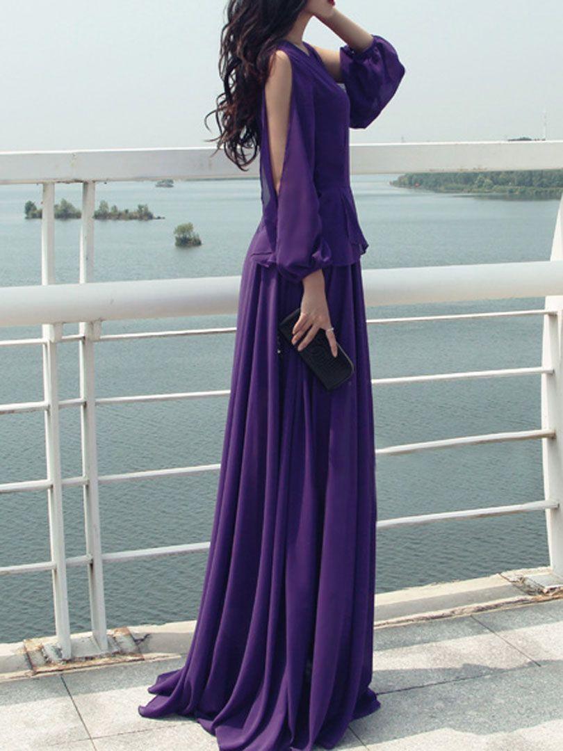 Purple Split Long Sleeve Layered Maxi Dress | Choies | Wedding ...