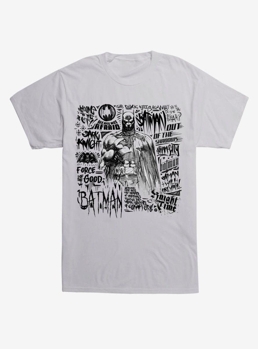 Dc comics batman sketch graffiti t shirt