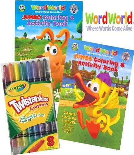 Wordworld Coloring Book Set With Crayola Twistables Crayons By Pbs 14 95 Delight Your Wordworld Fan With This W Book Activities Kids Literacy Coloring Books