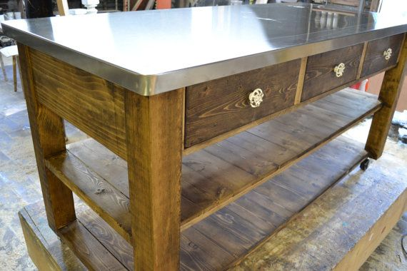 Beautiful But Simple Kitchen Island Stainless Steel Top Square Etsy Kitchen Island Stainless Steel Top Wood Kitchen Island Simple Kitchen