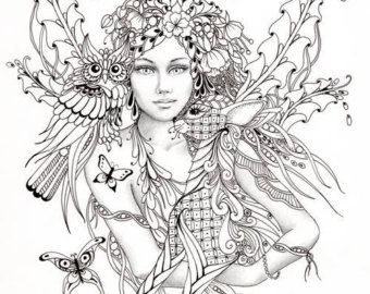 intricate fairy coloring pages fairy tangles coloring sheet fairies owls deer digi - Adult Fairy Coloring Pages