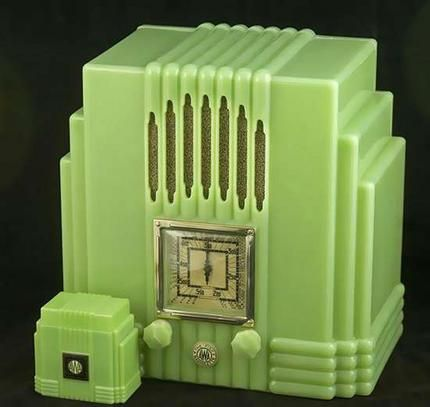 """""""Old wave ... the Jade Green Empire State Radiolette is considered the ultimate AWA art deco radio, even more so if it comes with the matching one tenth-scale cigarette box. Mint examples can fetch $15,000."""""""