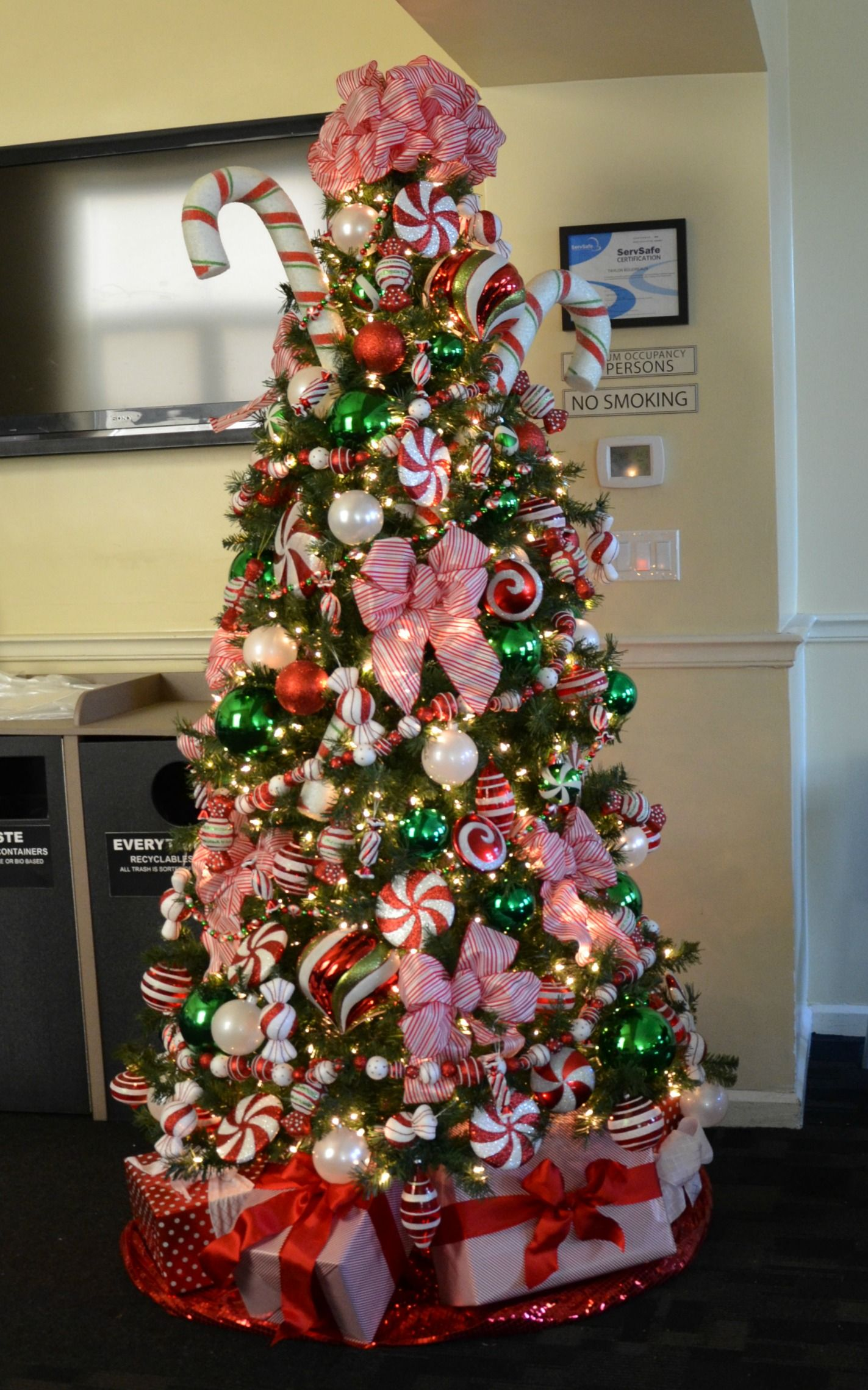 peppermint candy decorated christmas tree, Commercial