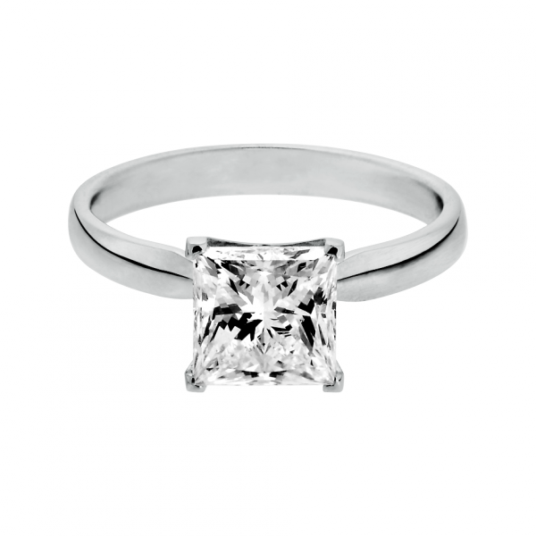 Engagement Ring Vancouver in 18carat white gold with princesscut