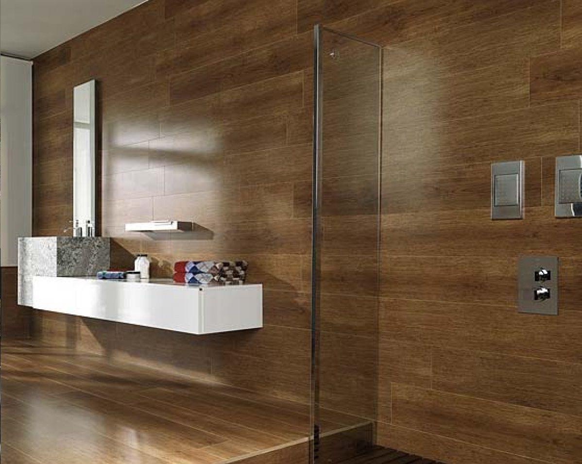 Bathroom tiles azulejos de imitaci n madera para el for Azulejo de parquet negro imitacion