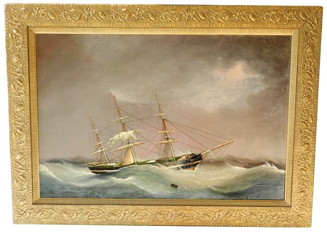 "J. L. Tudgay, Oil on Canvas, ""Portrait of the Robena in Inclement Weather""  signed and dated lower right, ""J. L. Tudgay, 1858""; period gilt frame  24 in. x 36 in.  Rafael Osona Auctions, Nantucket"