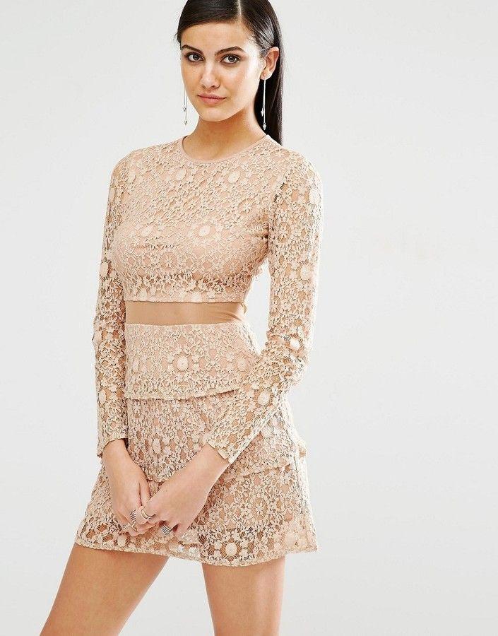 Missguided Mesh Insert Lace Skater Dress
