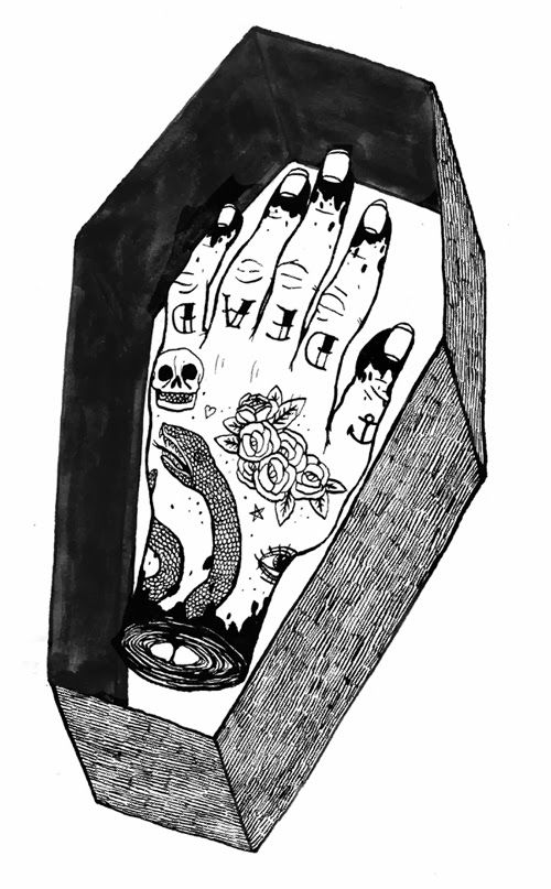 9f9659f54e614 Art by Ali Horn: Hoodie Designs | #artbyalihorn #alihorn #coffin #tattoo, tattooed  hand, severed hand