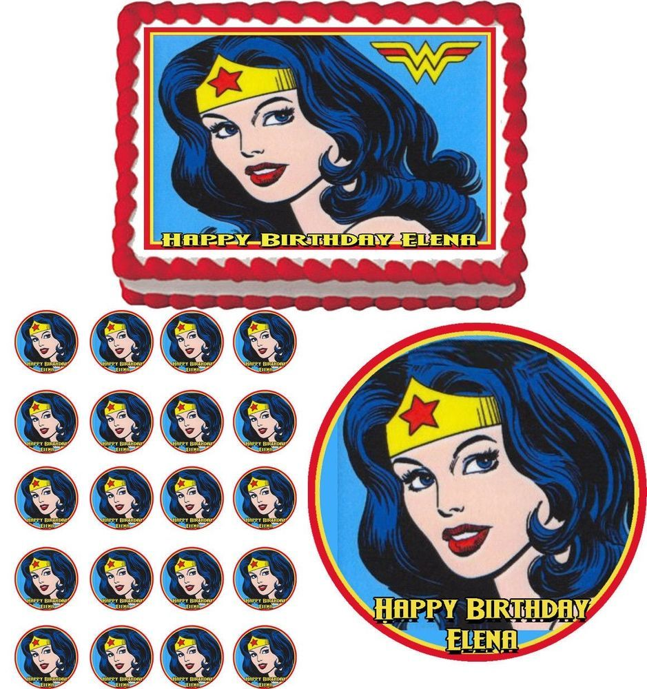 WONDER WOMAN Edible Birthday Party Cake Topper Cupcake Plastic Pick