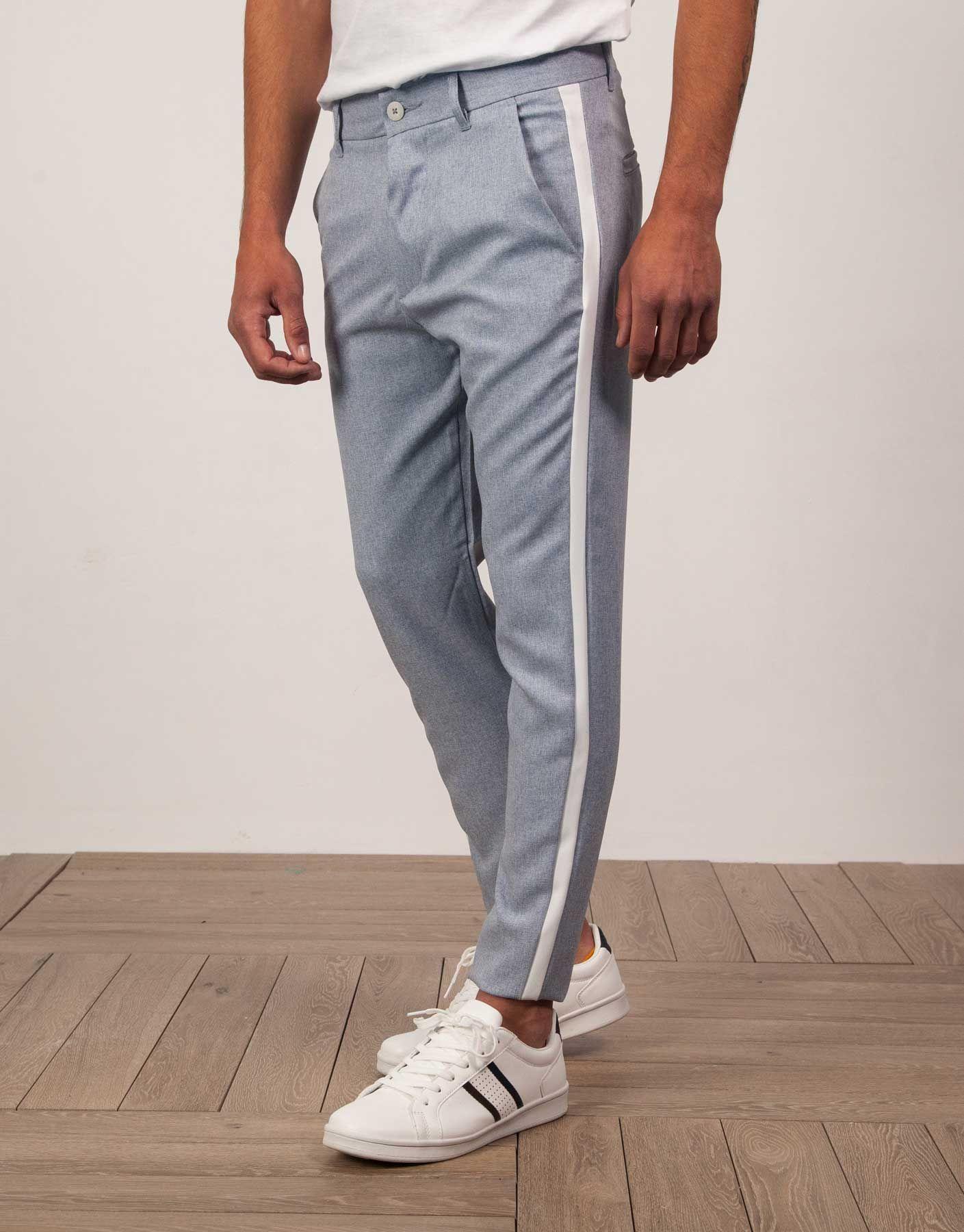 Pantalon Vestir Franja Lateral Contraste Azul Jvz Stripes Trends Fashion Clothes