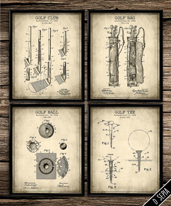golf office decor. Vintage Patent Golf Set Antique Poster By PrintShopCanada Office Decor