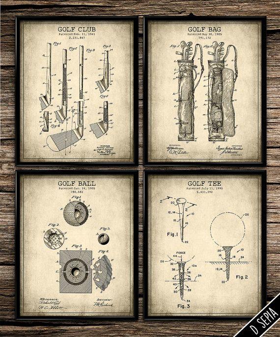 Vintage Patent Golf Set Patent Art Patent By UniquelyGiftedArt Part 80