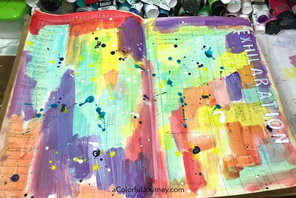 Splattering Pam Carriker paints and a quick stenciled title in a vintage art journal video by Carolyn Dube #artjournaling #stenciling