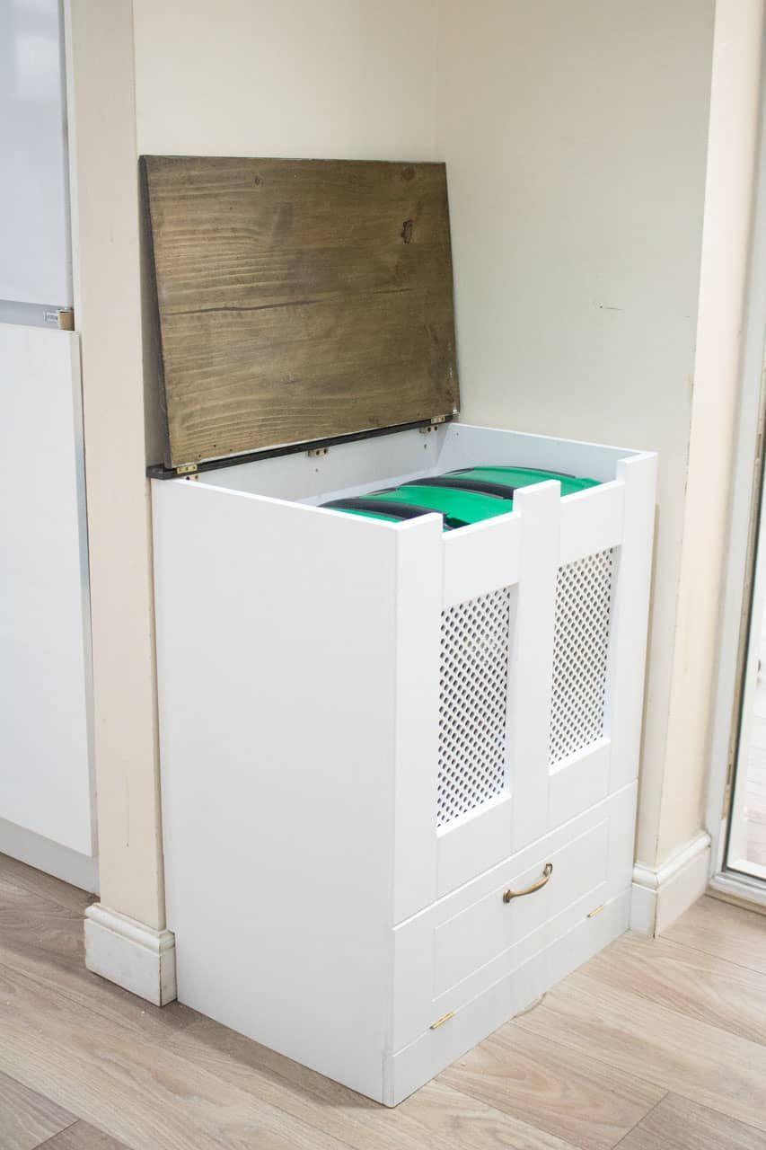 Diy Kitchen Recycling Bins Schrank In 2020 Recycling Bins Kitchen Recycling Bins Diy Recycling Bins