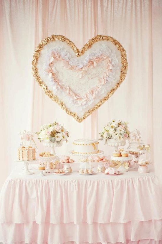Love this dessert table! Blush pink theme # Love the heart