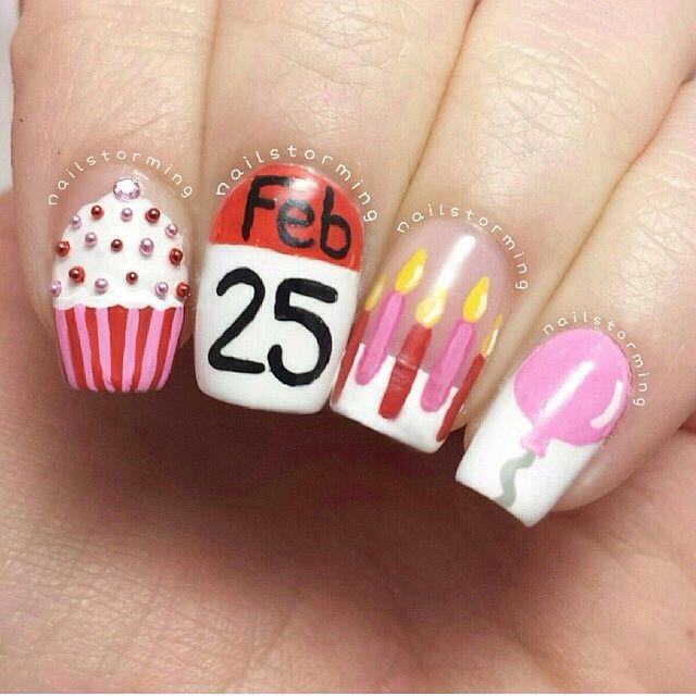 Birthday Nail Art Design Birthday Nail Art Acrylic Nail Designs